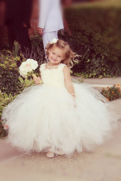 Ivory Flower Girl Tutu Dress Wedding Dress Pageant Dress Toddler Dress Tulle Dress Satin Straps