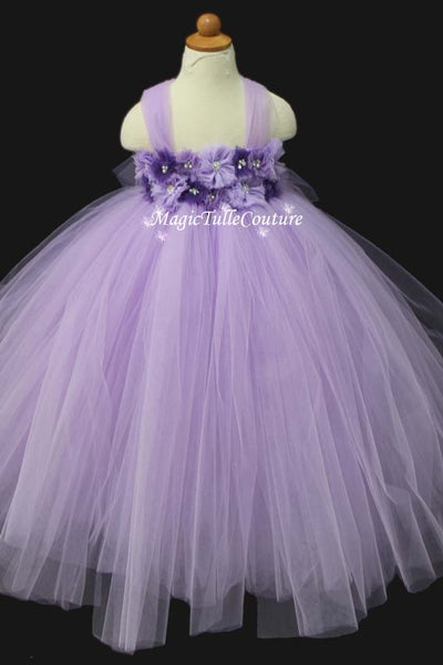 Lt. Purple Lavender Flower Girl Dress Tulle Dress Wedding Dress Toddler Dress, MagicTulleCouture
