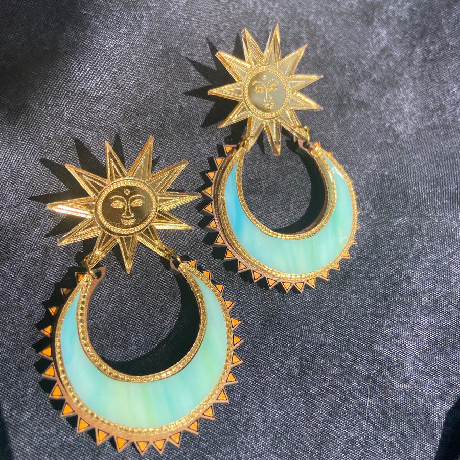 Sun Chand Earrings - New Moon Colour ways - Anisha Parmar London