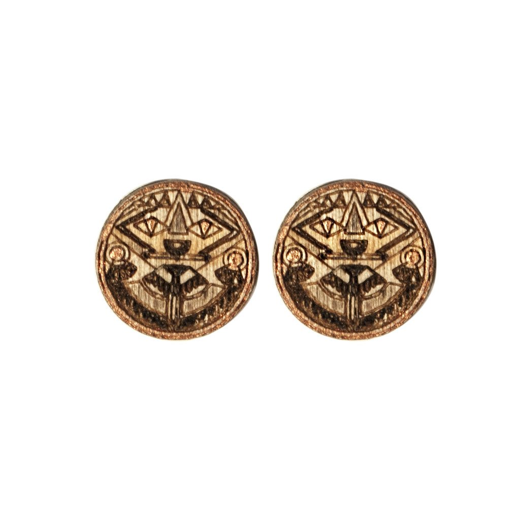 Indigo Eyes Studs Wood