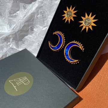 Large Sun and Chand studs set