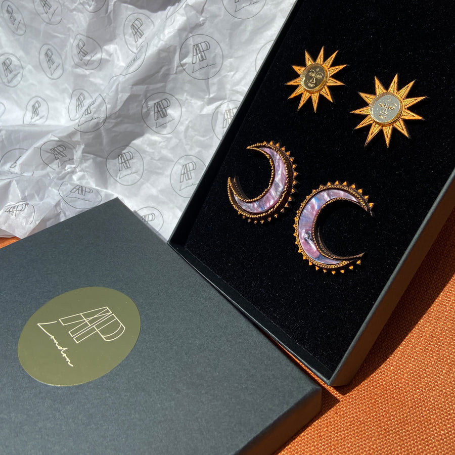 Large Sun and Chand studs set - Anisha Parmar London