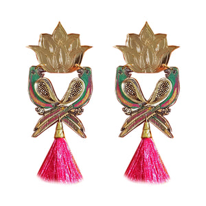 Parrot and Lotus statement Earrings