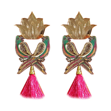 Parrot and Lotus statement Earrings - Anisha Parmar London