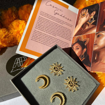Small Sun and Chand Studs Set - Anisha Parmar London