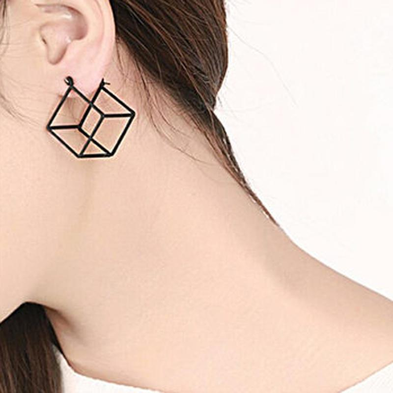 The 3D Ultra Contemporary Polygon Stud Earrings Collection Stud Earrings Cos Store Black Square