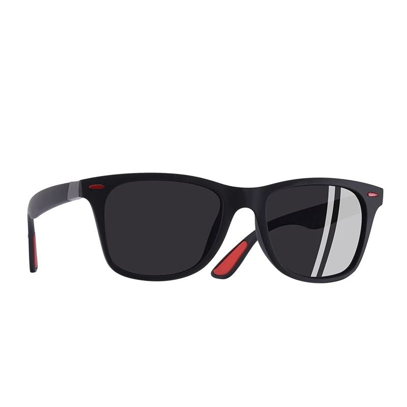 The Red Tipped Lightweight Classic Polarized Unisex Square Eyewear glasses Men's Sunglasses AOFLY Official Store Matte Black