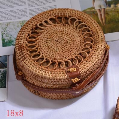The Bali Island Handmade Woven Rattan Straw Bohemian Shoulder Crossbody Bag Collection Shoulder Bags AOILDLLI Official Store Natural Sun Rays (18cm x 8cm)