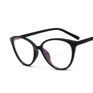 The Transparent Flower Child Retro Cat Eyeglasses Frames Men's Eyewear Frames KOTTDO Official Store Bright Black