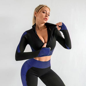The Warrior Goddess Yoga Gym Seamless High-Waisted Ultra Performance Leggings Sports Bra and Mock Neck Crop Jacket Home AJISSI Sportwear Store Sapphire Navy Set (Complete Suit) (3 pcs) S