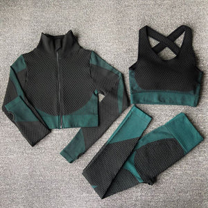 The Warrior Goddess Yoga Gym Seamless High-Waisted Ultra Performance Leggings Sports Bra and Mock Neck Crop Jacket Home AJISSI Sportwear Store Aqua Marine Set (Complete Suit) (3 pcs) S