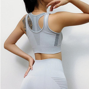 The Intergalactic Cosmic Runners Seamless High Waisted Yoga Workout Leggings & Racerback Boost Sports Bra Yoga Pants AJISSI Sportwear Store Arctic Slate Gray Sports Bra (1 pcs) S