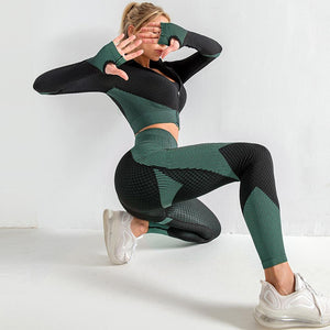 The Warrior Goddess Yoga Gym Seamless High-Waisted Ultra Performance Leggings Sports Bra and Mock Neck Crop Jacket Home AJISSI Sportwear Store Aqua Marine Set (Sports Bra Not Included) (2 pcs) S
