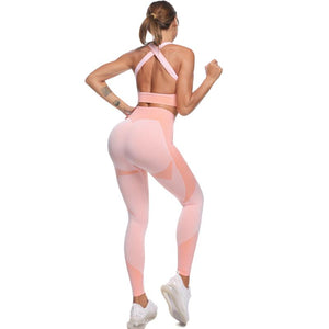 The Warrior Goddess Yoga Gym Seamless High-Waisted Ultra Performance Leggings Sports Bra and Mock Neck Crop Jacket Home AJISSI Sportwear Store Bubblegum Candy Floss Set (Mock Neck Long Sleeve Crop Jacket Not Included) (2 pcs) S