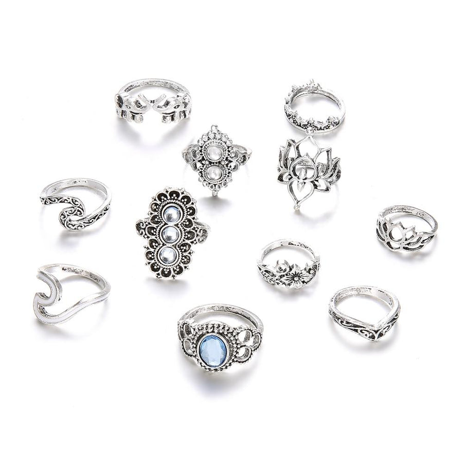 The Complete Bohemian Beach Retro Elephant Hollow Lotus Wave Gems Fashion Ring Set (11 Pcs/Set!) Rings IG Jewellery Store