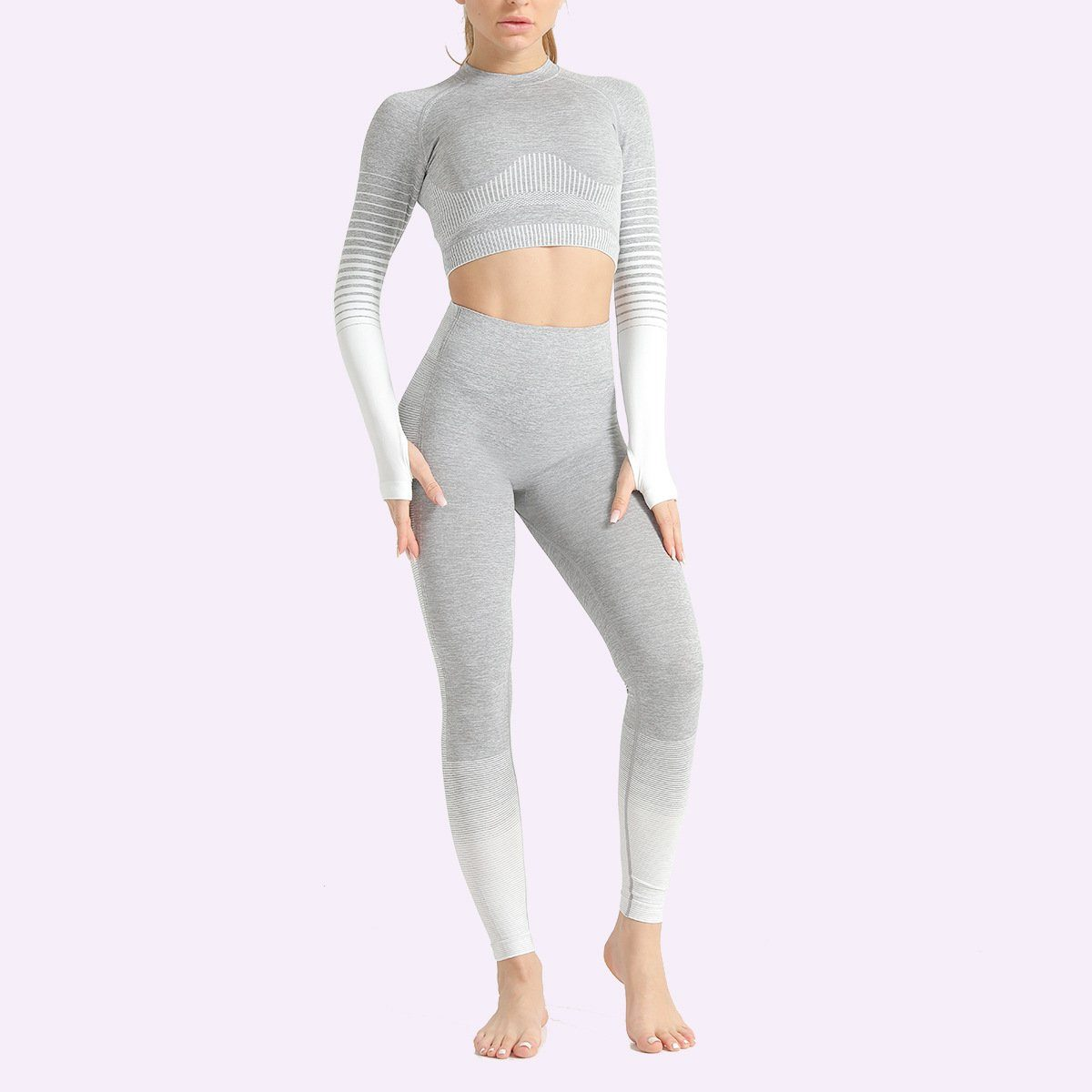 The Extreme Velocity Slimming Gradient Push-Up High-Waisted Seamless Yoga Gym Leggings & Long Sleeve Crop Top Yoga Sets AJISSI Sportwear Store