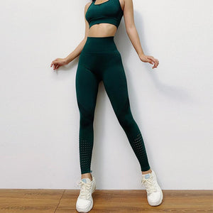 The Intergalactic Cosmic Runners Seamless High Waisted Yoga Workout Leggings & Racerback Boost Sports Bra Yoga Pants AJISSI Sportwear Store