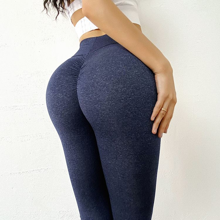 The Effortless Barely There Second Skin Scrunch Butt Seamless Yoga Gym Workout Leggings for an OMG! Bubble Booty Lift Yoga Pants hearuisavy Official Store Deep Dark Blue S