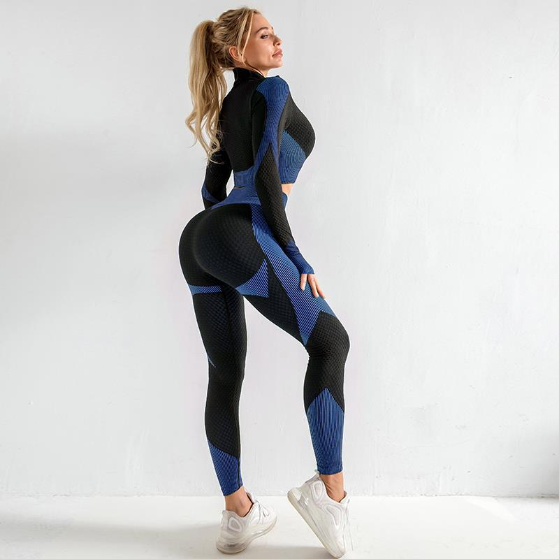 The Warrior Goddess Yoga Gym Seamless High-Waisted Ultra Performance Leggings Sports Bra and Mock Neck Crop Jacket Home AJISSI Sportwear Store Sapphire Navy Set (Sports Bra Not Included) (2 pcs) S