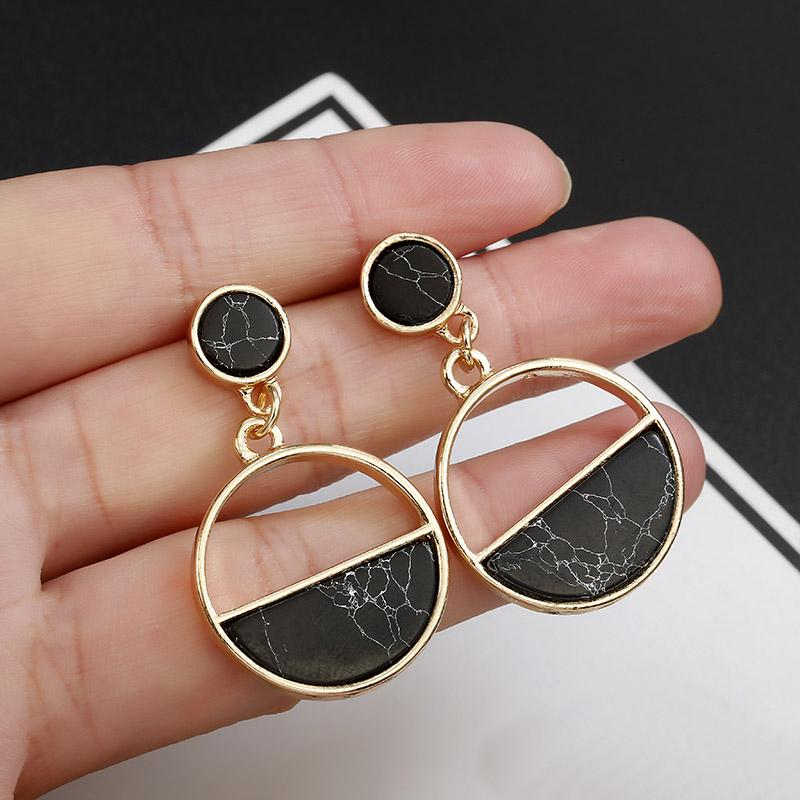 The Glass is Half-Full Monochrome Black White Stone Marble Classic Earrings Stud Earrings ChiBen Store