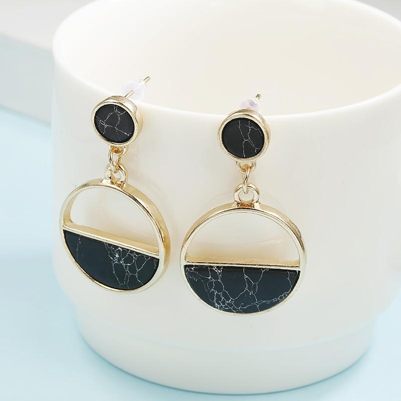 The Glass is Half-Full Monochrome Black White Stone Marble Classic Earrings - HABIT