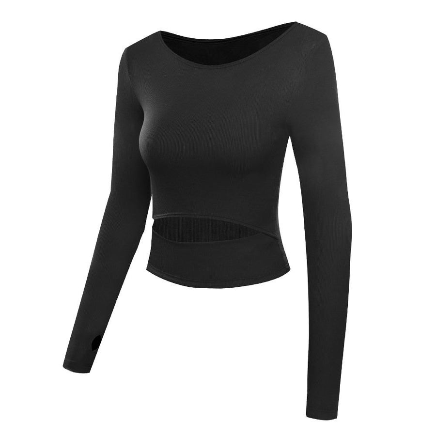 The Slit Crop Yoga Long Sleeve T-Shirt Yoga Shirts eSports Store Black S
