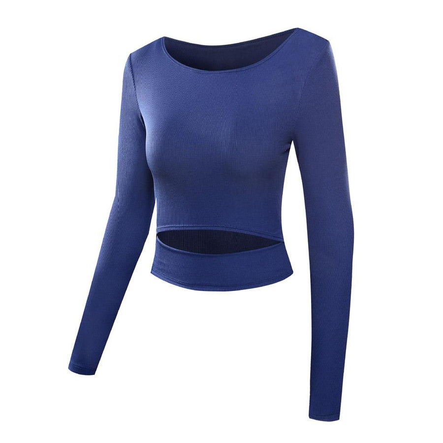 The Slit Crop Yoga Long Sleeve T-Shirt Yoga Shirts eSports Store Blue S
