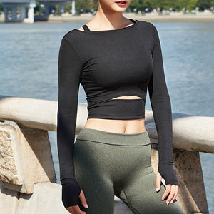 The Slit Crop Yoga Long Sleeve T-Shirt Yoga Shirts eSports Store