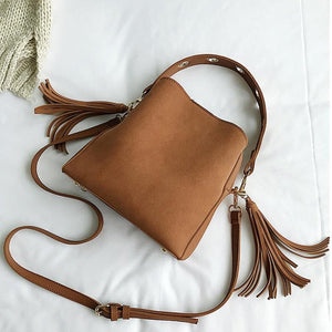 Vintage Bucket Retro Tassel Shoulder Crossbody Tote Bag Top-Handle Bags JMING's HE Decor Store Brown
