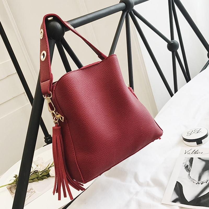 Vintage Bucket Retro Tassel Shoulder Crossbody Tote Bag Top-Handle Bags JMING's HE Decor Store