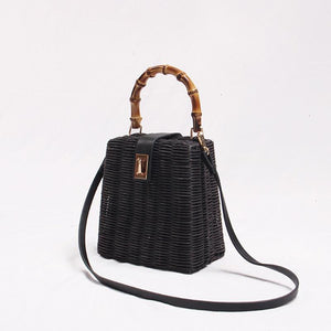 The Poised Rattan Bag Hardware Buckle Straw Bamboo Woven Crossbody Bag and Handbag Top-Handle Bags luminesky Store Black