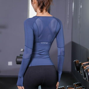 Train Like an Angel Long Sleeve Mesh Yoga Gym T-Shirt Yoga Shirts Swimbra Store Blue S