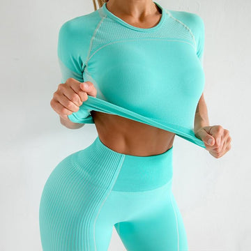 The Yogi Biker Chick Seamless Peek-A-Boo Crop Top T-Shirt and High-Waisted Shorts Yoga Sets AJISSI Sportwear Store Aquamarine Peppermint Green Set (2 Pcs) S