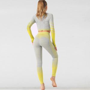 The Extreme Velocity Slimming Gradient Push-Up High-Waisted Seamless Yoga Gym Leggings & Long Sleeve Crop Top (LIMITED EDITION) Yoga Sets AJISSI Sportwear Store Yellow Banana Lemon Sensation Long Sleeve Set (2 pcs) S