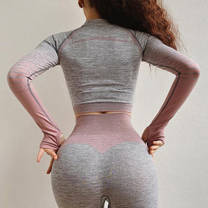 The Extreme Velocity Slimming Gradient Push-Up High-Waisted Seamless Yoga Gym Leggings & Long Sleeve Crop Top (For Bundling) Yoga Sets AJISSI Sportwear Store Misty Rosey Pink Long Sleeve Set (2 pcs) S
