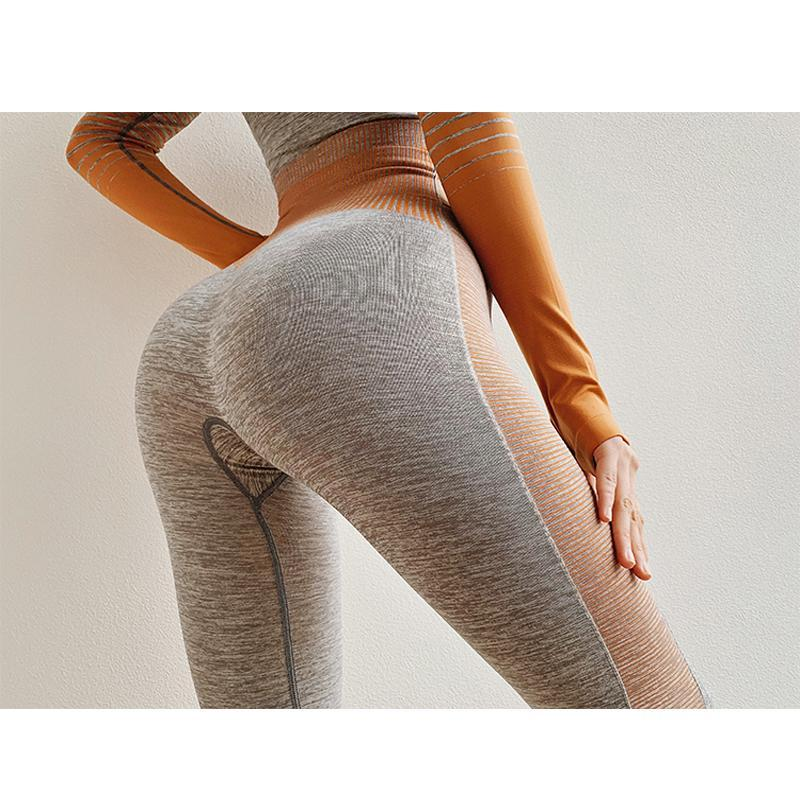 The Extreme Velocity Slimming Gradient Push-Up High-Waisted Seamless Yoga Gym Leggings & Long Sleeve Crop Top (For Bundling) Yoga Sets AJISSI Sportwear Store