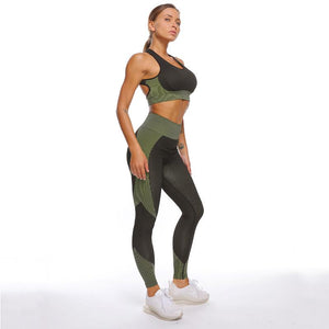 The Warrior Goddess Yoga Gym Seamless High-Waisted Ultra Performance Leggings Sports Bra and Mock Neck Crop Jacket Home AJISSI Sportwear Store Tactical Army Green Set (Mock Neck Long Sleeve Crop Jacket Not Included) (2 pcs) S