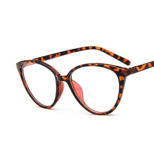 The Transparent Flower Child Retro Cat Eyeglasses Frames Men's Eyewear Frames KOTTDO Official Store Leopard