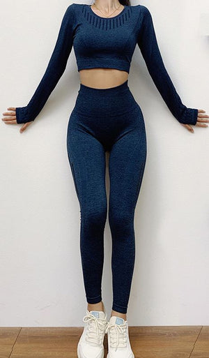 The All-Season Razor Contoured High Waist Seamless Yoga and Gym Leggings Yoga Pants AJISSI Sportwear Store Deep Blue Onyx Razor Long Sleeve Set (2 pcs) S