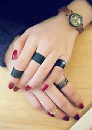 The Unisex Fatale Goth Punk Rock Tattoo Midi Above Knuckle Black Band Free Size Ring Set (3pcs/set) Rings Jewelryshop Store