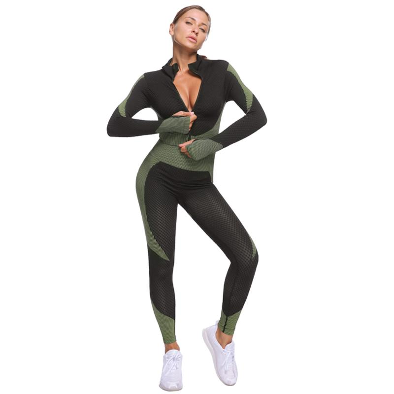 The Warrior Goddess Yoga Gym Seamless High-Waisted Ultra Performance Leggings Sports Bra and Mock Neck Crop Jacket Home AJISSI Sportwear Store Tactical Army Green Set (Sports Bra Not Included) (2 pcs) S