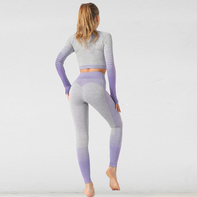 The Extreme Velocity Slimming Gradient Push-Up High-Waisted Seamless Yoga Gym Leggings & Long Sleeve Crop Top (LIMITED EDITION) (For Bundling) Yoga Sets AJISSI Sportwear Store