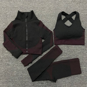 Warrior Goddess High-Waist Seamless Leggings, Sports Bra & Long Sleeve Crop Jacket Set (For Bundling 1)