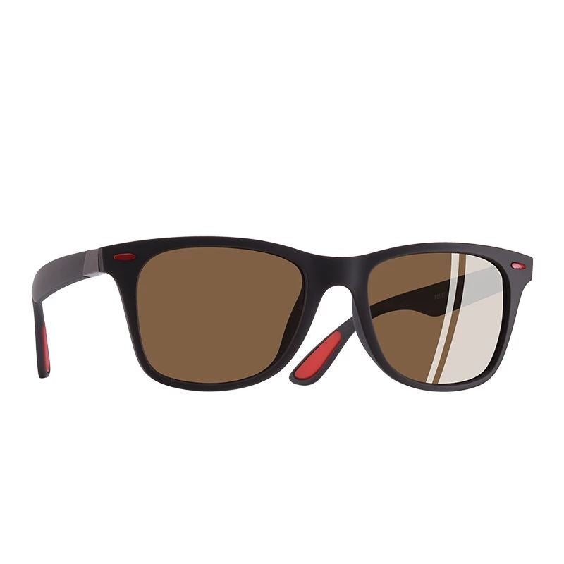 The Red Tipped Lightweight Classic Polarized Unisex Square Eyewear glasses Men's Sunglasses AOFLY Official Store Matte Brown