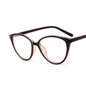 The Transparent Flower Child Retro Cat Eyeglasses Frames Men's Eyewear Frames KOTTDO Official Store Brown