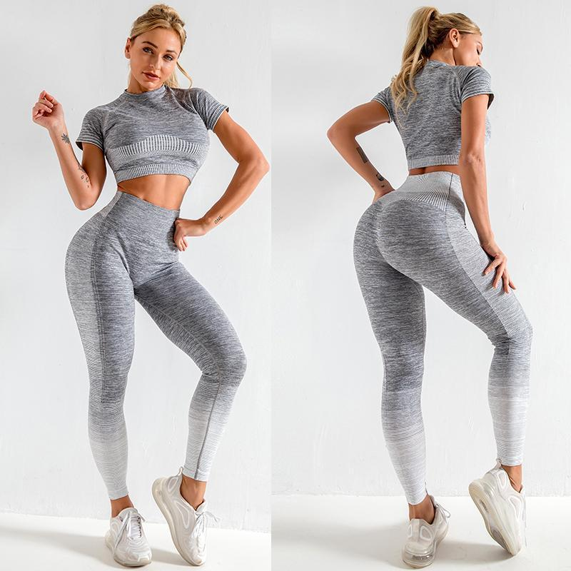 The Extreme Velocity Slimming Gradient Push-Up High-Waisted Seamless Yoga Gym Leggings & Short Sleeve Crop Top Yoga Sets AJISSI Sportwear Store