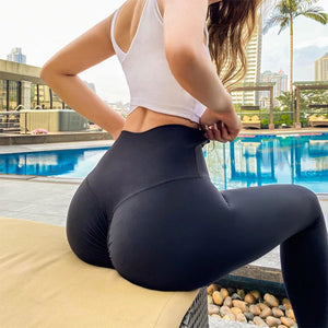 The Naked Feeling Scrunch Butt Deep V Booty High-Waisted Gym Yoga Workout Leggings Yoga Pants hearuisavy Official Store The Black Knight S