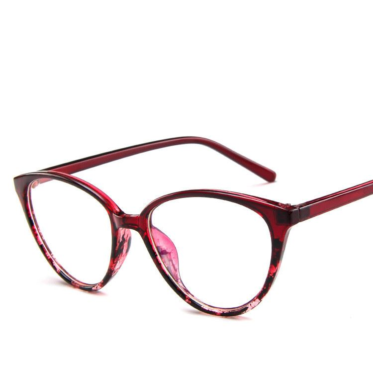 The Transparent Flower Child Retro Cat Eyeglasses Frames Men's Eyewear Frames KOTTDO Official Store Burgundy