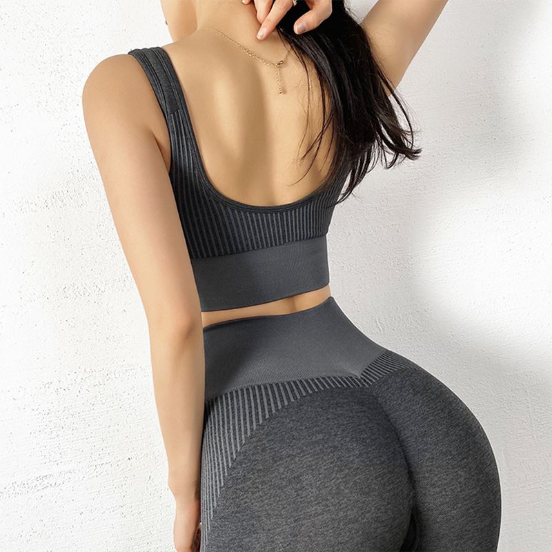 The NASCAR Racer Gradient Seamless Push-Up High-Waisted Scrunch Butt Yoga Gym Leggings & Sports Bra Yoga Pants hearuisavy Official Store Double Black Set (2 pcs) S