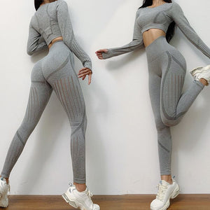 The All-Season Razor Contoured High Waist Seamless Yoga and Gym Leggings Yoga Pants AJISSI Sportwear Store Arctic Smokey Silver Gray Razor Long Sleeve Set (2 pcs) S